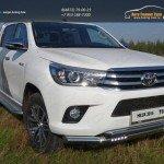 Защита передняя нижняя (двойная с ДХО) 76,1/60,3 мм+Решетка радиатора (лист)Toyota Hilux 2015/арт.820