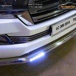 Защита передняя нижняя (с ДХО) 76,1 мм+Рамка номера (комплект) TOYOTA LC 200 2015+