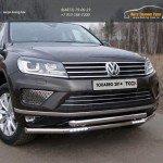 Защита передняя нижняя двойная с ходовыми огнями 60,3/60,3 мм+Решетки радиатора боковые (лист) Volkswagen Touareg 2014+/арт.820-20