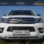 Защита передняя нижняя (двойная) 76,1/60,3 мм+Рамка номерного знака (комплект)Toyota Hilux 2015 (лист) /арт.820-1