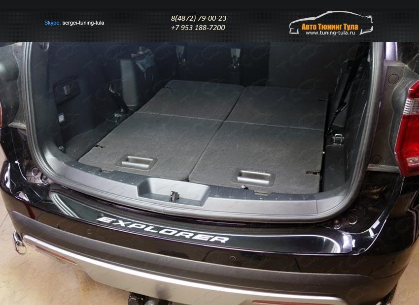 Накладка на задний бампер (лист зеркальный надпись Explorer)  FOREXPL16-28 Ford EXPLORER 2016+/арт.621-29