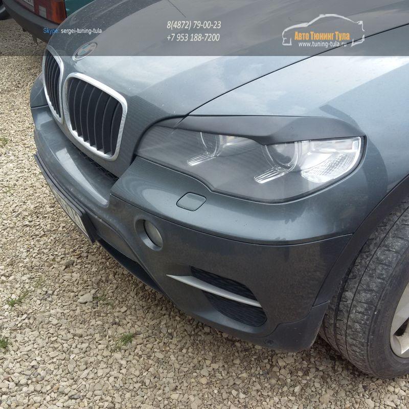 Накладки фар (Реснички) широкие BMW X5 E70 2007-2013 / арт.221-3