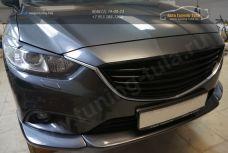 Mazda 6 2013- Накладка на передний бампер ABS пластик Центральная накладка 1 шт., боковые клыки 2 шт. / 110-4