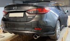 Mazda 6 2013-Накладка на задний бампер ABS пластик  Диффузор 1 шт., боковые клыки 2 шт. / арт.110-2