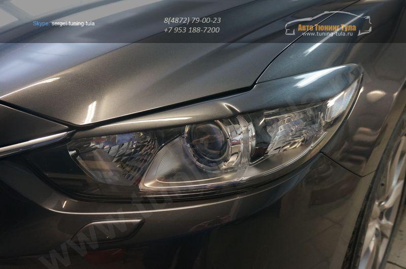 Mazda 6 2013 – Реснички – ABS пластик Накладки на фары 2 шт. / арт.110-1