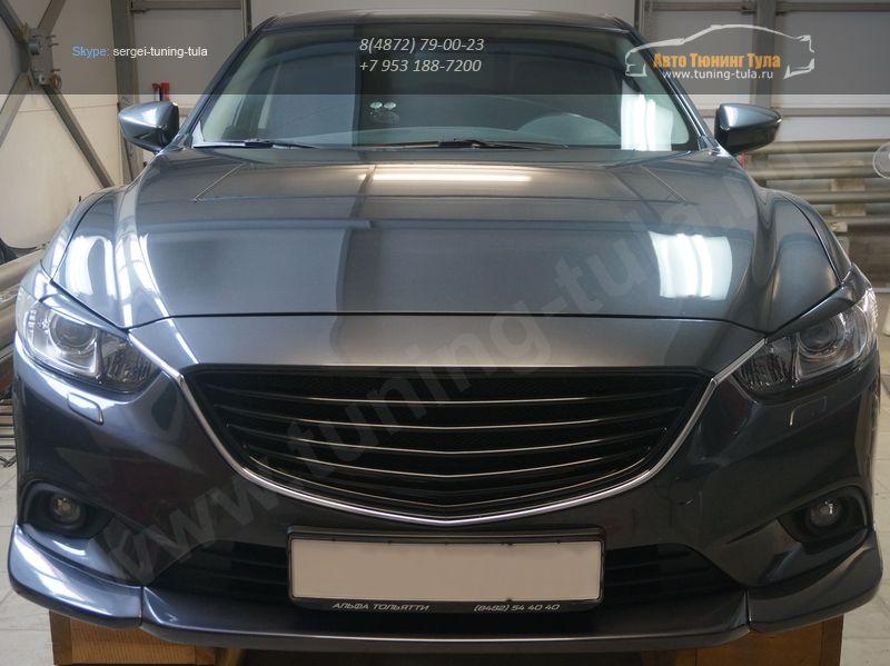 Mazda 6 2013 Решетка радиатора Sport ABS пластик Решетка радиатора крашенная в черный глянец 1 шт., алюминиевая кр.сетка 1 шт., / арт.110-6