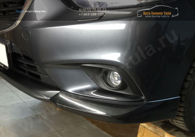 Mazda 6 2013- Клыки переднего бампера  ABS пластикНакладки на бампер 2 шт. / арт.110-3