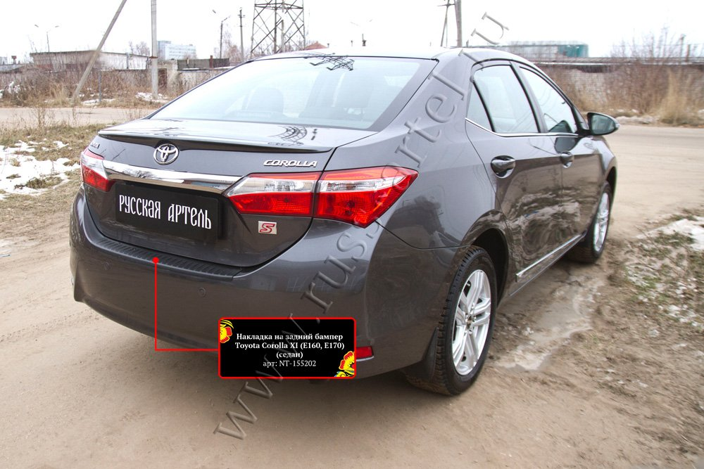 Накладка на задний бампер Toyota Corolla (седан) 2012-2015 NT-155202