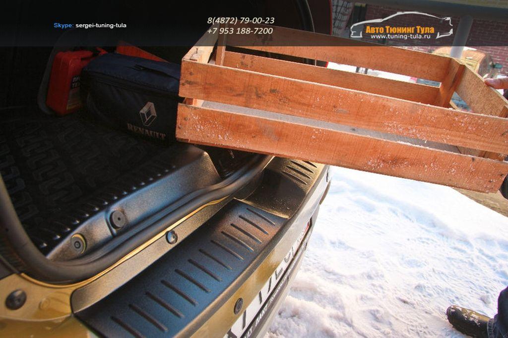 "Накладка на задний бампер + порожек багажника Рено Сандеро 2 | Renault Sandero 2 -""АртФорм"" с 2014 г.в. / арт.845"