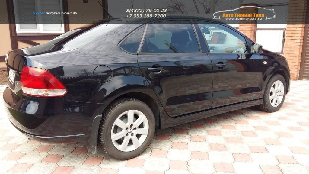 Накладки порогов FT абс-пластик VW Polo Sedan 2010-  / арт.851